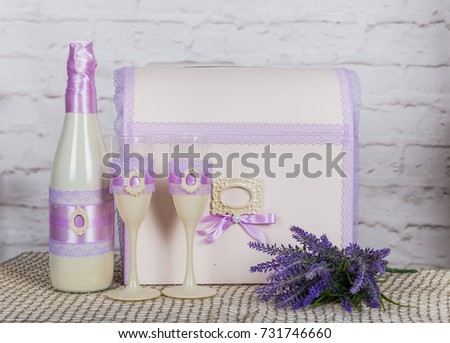 Glasses of champagne decorated with lavender on wooden backgroun Stock photo © dashapetrenko
