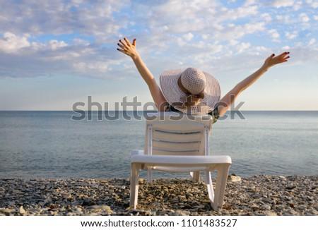 вид сзади красивой расслабляющая солнце глядя Сток-фото © wavebreak_media