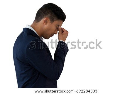 Side view of senior black man with eyes closed standing on beach in the sunshine Stock photo © wavebreak_media