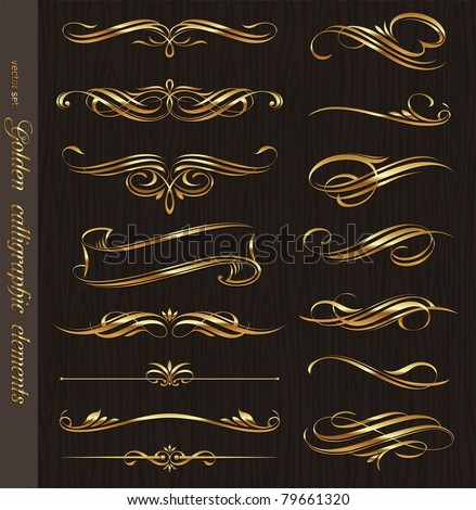 Golden calligraphic elements and page decoration design - vector set Stock photo © blue-pen