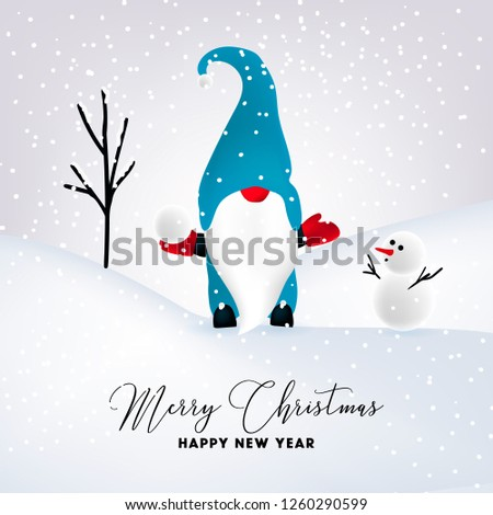 beautiful flat design christmas card snowman and gnome christm stock photo © balasoiu