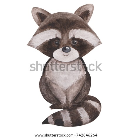 Cute watercolor raccoon, isolated illustration good for baby clothes print, children greeting card Stock photo © bonnie_cocos