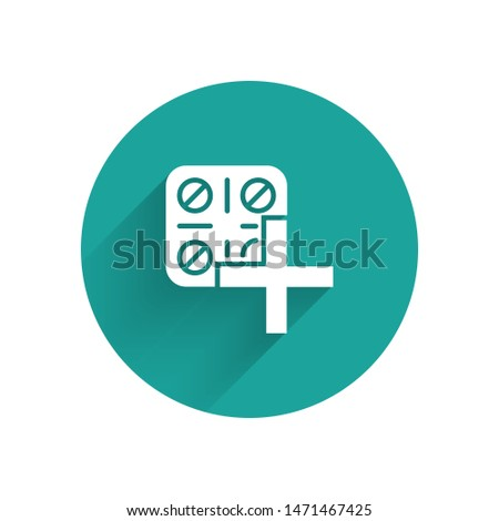 Pack of pills icon with shadow on a green circle. Vector pharmacy illustration Stock photo © Imaagio