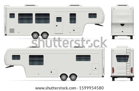 Large camping trailer vector illustration view from side, front, Stock photo © YuriSchmidt
