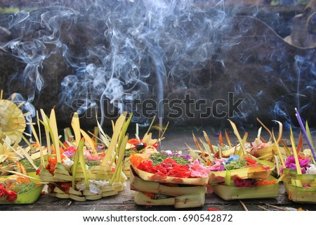 Daily offerings - canang sari is very important in Bali, Indonesia BANNER, LONG FORMAT Stock photo © galitskaya