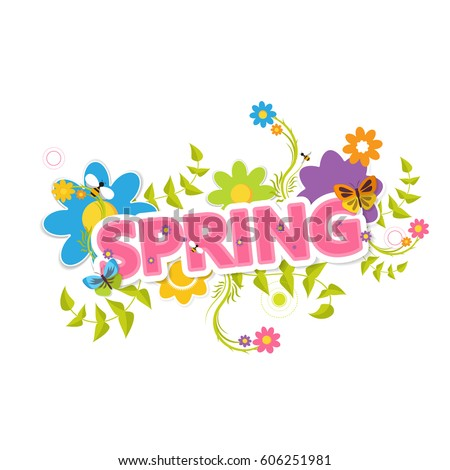 Vector floral card with blossoming bush and hello spring lettering Stock photo © ussr