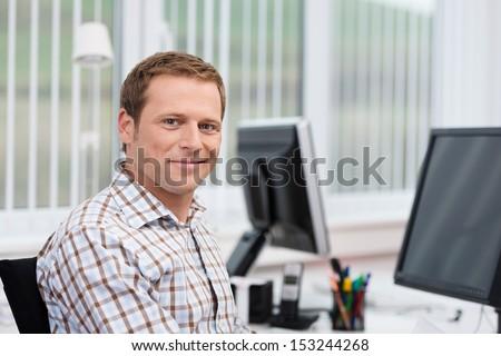 Pozytywny mężczyzna przedsiębiorca zadowolony wyraz twarzy ręce Zdjęcia stock © vkstudio