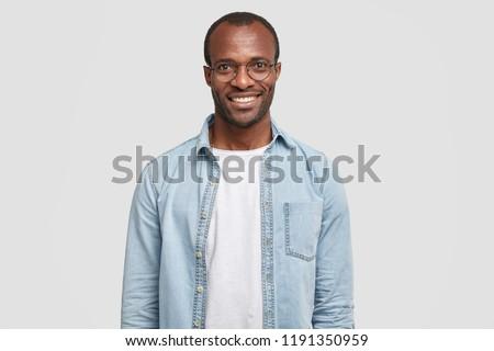 горизонтальный выстрел счастливым мужчины менеджера черный Сток-фото © vkstudio