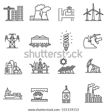 Different transports constructions and factories of oil petrol industry flat icons set isolated Stock photo © Zhukow