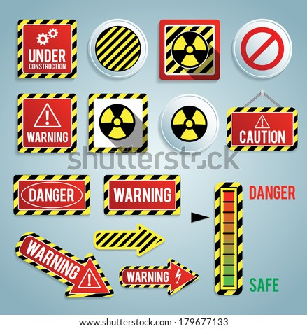 Hazard warning signs on red squares. Set of signs warning about danger. 42 high quality hazard symbo Stock photo © ukasz_hampel