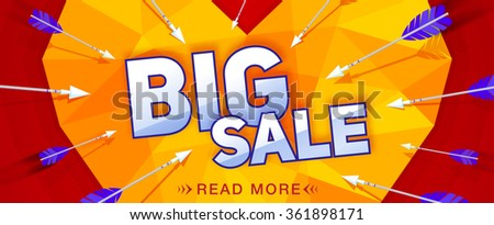 Big Sale Present and Heart with Arrow Sticker Stock photo © robuart