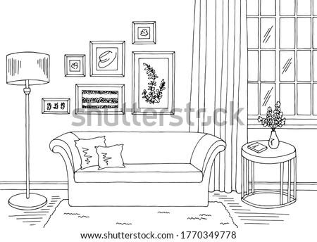 Cartoon Lamp (Black and White Line Art) Stock photo © bennerdesign