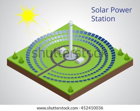 Energiecentrale hernieuwbare zonne-energie zon banner lang Stockfoto © galitskaya