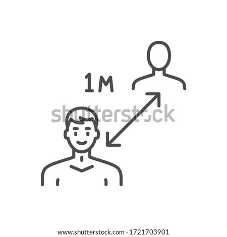 Social distancing. Keep distance related vector thin line icon. Stock photo © smoki