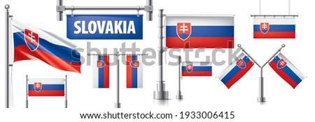 Vector ingesteld vlag Slowakije creatieve Stockfoto © butenkow
