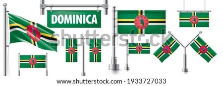 Vetor conjunto bandeira Dominica criador Foto stock © butenkow