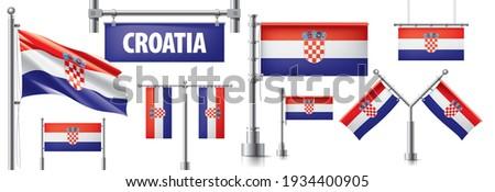 Vetor conjunto bandeira Croácia criador Foto stock © butenkow