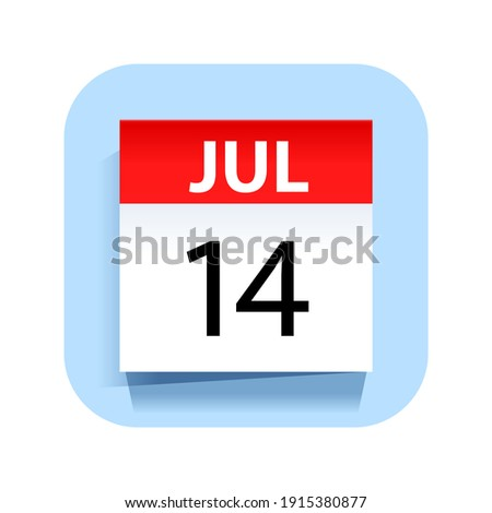 Simple black calendar icon with 14 july date isolated on white Stock photo © evgeny89