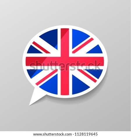 Bright glossy sticker in speech bubble shape with Great Britain flag, english language concept Stock photo © evgeny89