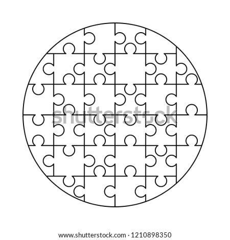 32 white puzzles pieces arranged in a round shape. Jigsaw Puzzle template ready for print. Cutting g Stock photo © evgeny89