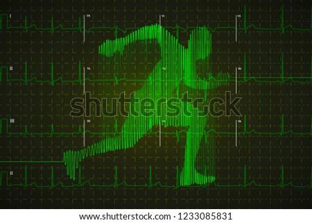 Heldere groene menselijke elektrocardiogram lopen vorm Stockfoto © evgeny89