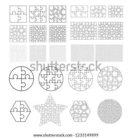 Largest set of white puzzles pieces in different shapes. Jigsaw Puzzle template ready for print. Cut Stock photo © evgeny89