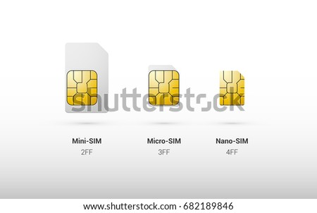 Set of black standard, micro and nano sim cards for phone with golden glossy chip from both sides in Stock photo © evgeny89