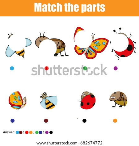 Matching children educational game. Find missing part of Easter eggs Stock photo © natali_brill