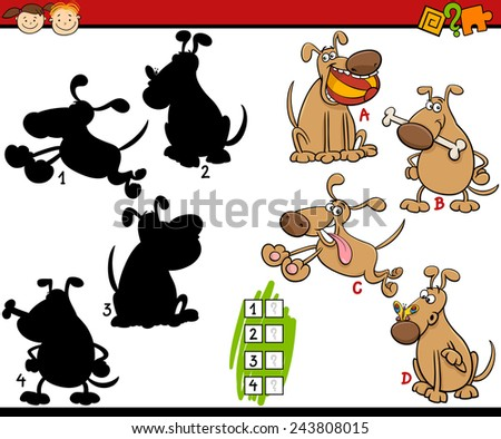 Cartoon Vector Illustration of Education. Shadow Matching Game for Children Stock photo © natali_brill