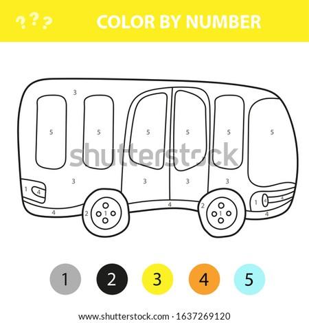 Busz rajz stílus szín szám oktatás Stock fotó © natali_brill