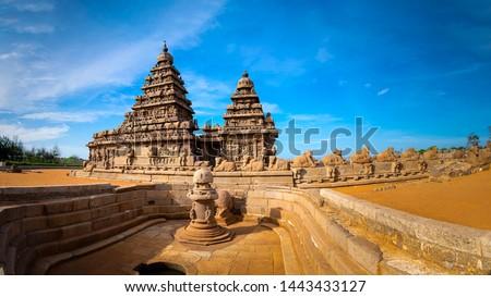 Shore temple - World heritage site in Mahabalipuram, Tamil Nad Stock photo © dmitry_rukhlenko