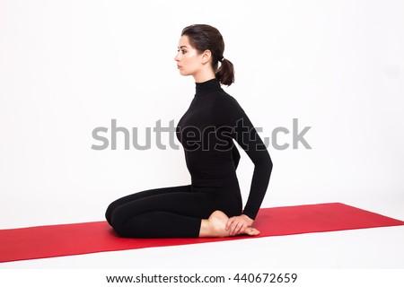 Nő jóga hős póz testmozgás kint Stock fotó © dmitry_rukhlenko