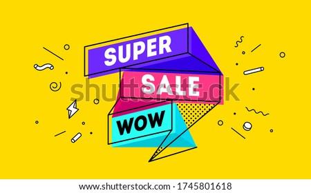 Super verkoop 3D banner tekst emotie Stockfoto © FoxysGraphic