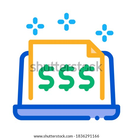 cash documents in computer version icon vector outline illustration Stock photo © pikepicture