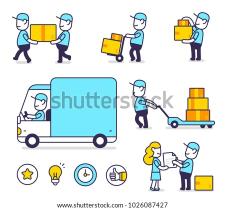 Delivery man in blue uniform handing parcel box for client  sign Stock photo © snowing