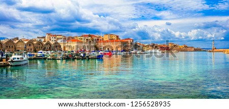 Yachts and boats in picturesque old port of Chania, Crete island. Greece Stock photo © dmitry_rukhlenko