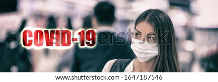 PANDEMIC coronavirus COVID-19 text on travel chinese woman walking in airport travel banner backgrou Stock photo © Maridav