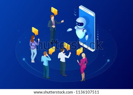 Artificial Intelligence Chat Bot isometric icon vector illustration Stock photo © pikepicture