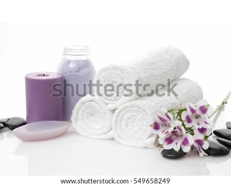 Foto stock: Verde · sabão · garrafa · colorido · toalhas