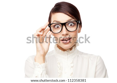 young and funny businesswoman, with big eyes, on the white backg Stock photo © dacasdo