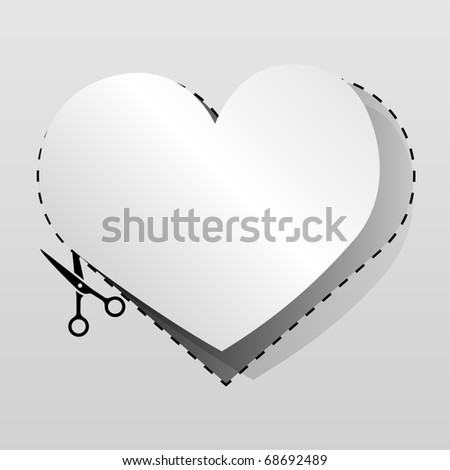 blank white advertising heart shaped coupon cut from sheet of pa stock photo © lenapix
