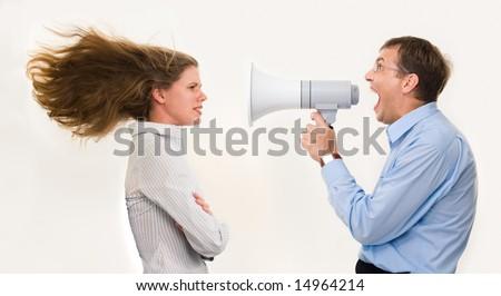 Wściekły kobieta interesu megafon kolega biuro Zdjęcia stock © wavebreak_media