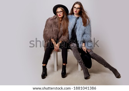 Full length of Bright Glamorous Girl with Trendy Glasses. Creativity stock photo © gromovataya