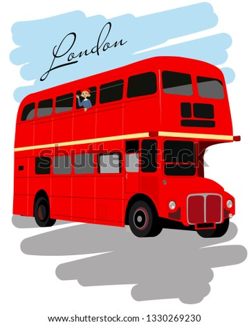 poster with old london red double decker bus vector illustrati stock photo © leonido