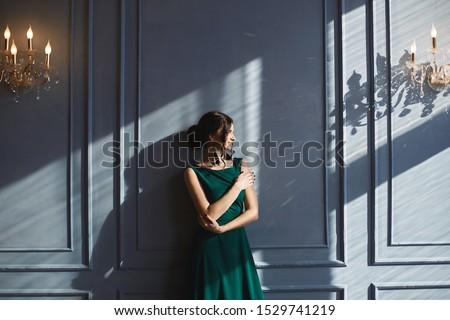 Mooie vrouw Blauw jurk luxe interieur mooie Stockfoto © Pilgrimego