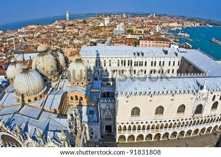 overlooking the marcus church in venice from campanile de san ma stock photo © meinzahn