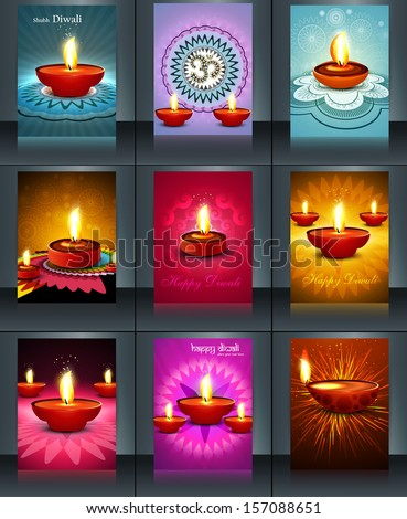 Beautiful 9 collection template colorful brochure design  illust Stock photo © bharat