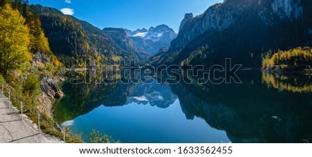 göl · alpler · feribot · Avusturya · gökyüzü · doğa - stok fotoğraf © phbcz