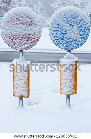 traffic sign covered with snow indicates traffic light in 90 met Stock photo © meinzahn