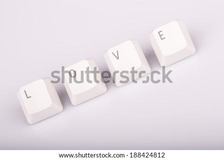 szeretet · billentyűzet · kulcsok · fehér · szöveg · izolált - stock fotó © jarin13